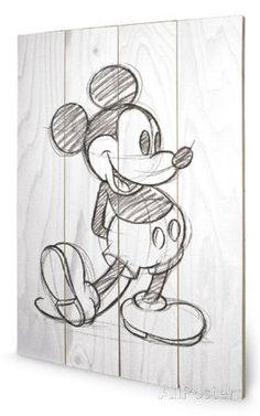 Mickey Mouse Sketched - Single Wood Sign Cartel de madera en AllPosters.es