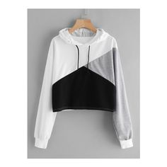 Black Drawstring Hooded Sweatshirt via Polyvore featuring tops and hoodies