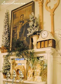 LaurieAnna's Vintage Home: Christmas Mantle - Farmhouse Friday #18  mantel clock
