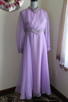 60's Lilac Evening Gown Chiffon Gown Rhinestones by RalphsCloset