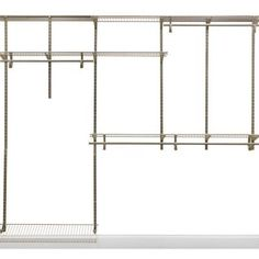 This amazing ClosetMaid ShelfTrack Wire Closet System Organizer Kit offers configuration and shelf adjustability for a custom fit. Home Depot Closet Organizer, Home Depot Closet System, Dorm Closet Organization, Diy Closet System, Craft Room Closet, Closet Ideas, Cheap Closet Organizers, Cabinet Organizers, Closet Space