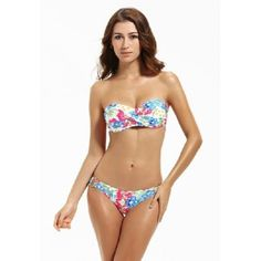 Mona's Secret Women's Two Pieces Floral Twist Bandeau Bikini Sets, Swimsuits, Bikinis, Swimwear, Bikini 2017, Bandeau Bikini Set, Two Pieces, Street Style Women, One Piece Swimsuit, Crochet Bikini