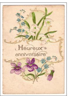 Carte Heureux anniversaire carte ancienne pour envoyer par La Poste, sur Merci-Facteur !