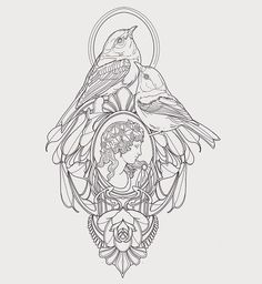 LA and Portland . Bird Drawings, Tattoo Drawings, Body Art Tattoos, Art Nouveau Illustration, Tattoo Illustration, Traditional Tattoo Design, Tattoo Stencils, Portland, Art Plastique