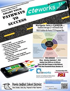 SAVE THE DATE and plan to attend, Peoria CTE's upcoming event on Sept. 7th, 2013.  Come anytime between 10am-2pm to see how you can obtain a career through Peoria CTE, career & college ready programs......Chart Your Pathways to Success.