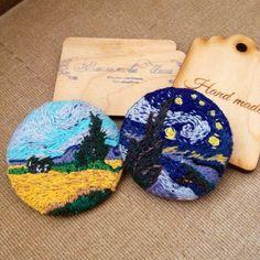 #embroidery #handmade #brooch #vangogh #вышивка #ручнаяработа #брошь #вангог #aprilinna