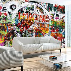 """Availability: on order Resistant, water-rejecting and scratch-proof fleece wallpaper """"Hippie Graffiti"""". Wallpaper """"Hippie Graffiti"""" with the inspiring motive will be an effective eye-catch for each interior. Graffiti Bedroom, Graffiti Furniture, Graffiti Wall Art, Street Art Graffiti, Mural Art, Wall Murals, 3d Wallpaper Mural, Photo Wallpaper, Wall Decor"""