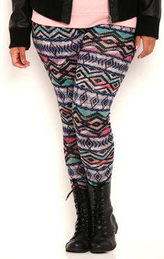 Deb Shops plus hacci multi pink tribal printed legging $12.00