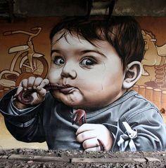 Стрит-арт искусство.  Smug One. Работа граффити шестая