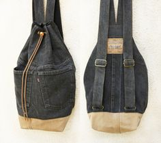 denim backpack upcycled gray/camel jeans drawstring bucket bag hipster grunge vintage indie schoolbag eco friendly vegan recycled repurposed by UpcycledDenimShop on Etsy https://www.etsy.com/listing/261920160/denim-backpack-upcycled-graycamel-jeans