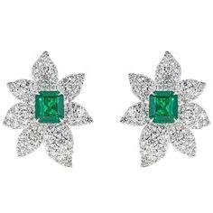 5.00 Carat Emerald Cut Emerald with 7.09 Carat Diamond White Gold Earrings 1