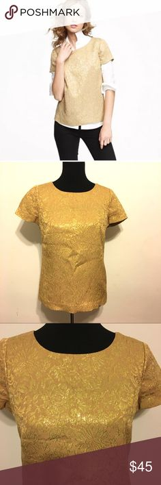 J. Crew gold foil Blouse J. Crew gold foil Blouse, size 4 (fits a small or small chested medium) excellent condition- looks cute paired with a collared shirt underneath or by itself! J. Crew Tops Blouses