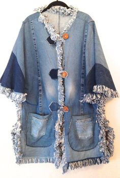 vintage denim jacket (Now, just to find enuf jeans to make this for ME) cj p. I LOVE THIS cj vintage denim jacket (Now, just to find enuf jeans to make this for ME) cj p. I LOVE THIS cj Plus Size Fashion For Women, Plus Size Womens Clothing, Plus Size Outfits, Clothes For Women, Men's Clothing, Upcycled Clothing, Vintage Denim, Denim Fashion, Artisanats Denim