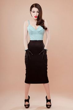 Pin up rockabilly blue and black dress by Hola Chica Clothing  $165.00