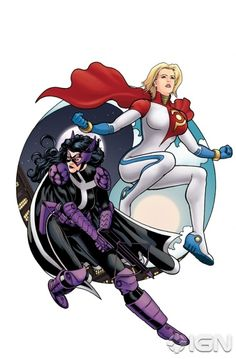 The Huntress and Power Girl - Earth 2's daugther of Batman and Catwoman with the cousin of Superman! Geek alert!