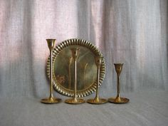 Vintage Brass Candlestick Collection / Set of 4 by dewdropdaisies