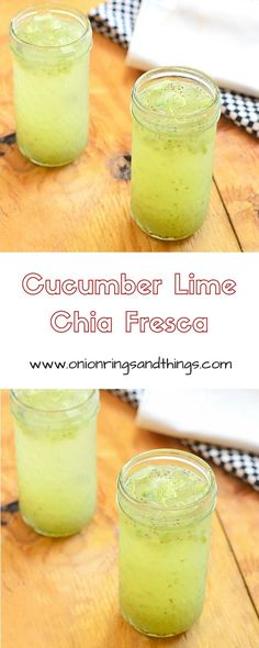 Cucumber, Lime and Chia Fresca is a refreshing fresh water drink made with cucumbers, lime juice and chia seeds