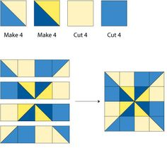 """Have fun using my Double Pinwheel quilt block pattern to sew a 12"""" version of this all-time favorite patchwork design. Two pinwheels equal double the spin.: Assemble the Double Pinwheel Quilt Block"""