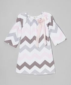 Loving this Monteau Girl Pink & Gray Zigzag Bow Peasant Dress on #zulily! #zulilyfinds