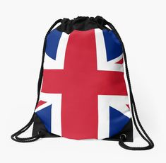 'United States and The United Kingdom Flags United Forever' Drawstring Bag by podartist