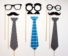 Photobooth Props on a Stick - Tie One on - Fathers Day, Neck tie, Mustache, Glasses on a Stick Mustache Theme, Mustache Party, Mustache Birthday, Diy Photo Booth, Photo Props, Photo Booths, Photo Backdrops, Ideas Actuales, Party Ideas