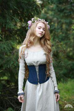 "Boned Corset ""Secret Garden"" for sale :: by medieval store ArmStreet Medieval Dress, Medieval Clothing, Mode Lolita, Boned Corsets, Garden Dress, Corset Belt, Blue Corset, Fantasy Costumes, Mode Vintage"