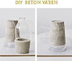 DIY idea: DIY trendy glass vases with concrete bases Cement Art, Concrete Cement, Concrete Furniture, Concrete Crafts, Concrete Projects, Concrete Design, Concrete Planters, Clay Art Projects, Diy Projects