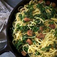 Spaghetti with Kale and Spicy Sausage | Food & Wine