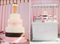 Neapolitan cake and an ice cream stand.