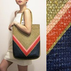Items similar to Karlie - Hand-painted Straw Tote on Etsy Bamboo Weaving, Hand Weaving, Straw Tote, Minimalist Fashion, Bag Making, Afro, Wicker, Shells, Basket