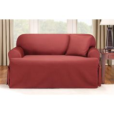 sure fit logan tcushion ties loveseat slipcover paprika