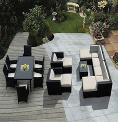 Outdoor Patio Wicker Furniture Sectional 7 pcs couch set and dinning room
