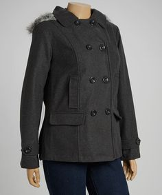 Take a look at this Charcoal Fleece Peacoat - Plus by YMI on #zulily today!