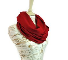 Infinity Scarf Red Jersey Circle Cranberry by ForgottenCotton, $20.00