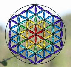 Flower of Life Sahasrara Sacred geometry Suncatcher Mandala. $32.00, via Etsy.
