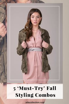 Must try fall styling combos   Green jacket   Wrap belt   Pink dress   How to style a belt