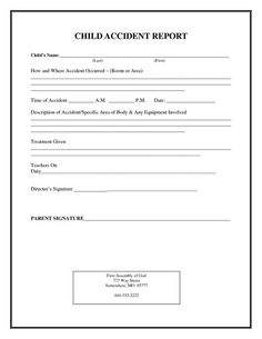 Incident Report Form Child Care
