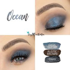 Ocean Eye Trio uses three SeneGence ShadowSense: Oasis Glitter, Rustic Brown, and Onyx ShadowSense.  These cream to powder eyeshadows will last ALL DAY on your eye.  #shadowsense #eyeshadow