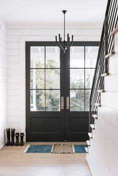 70 Best Modern Farmhouse Front Door Entrance Design Ideas 50 – Home Design Farmhouse Interior Doors, Modern Farmhouse Interiors, Modern Farmhouse Style, Farmhouse Door, Farmhouse Windows, Farmhouse Plans, French Farmhouse, Modern Country, French Country