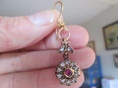 Handcrafted Vintage Deco .50ctw Red Ruby & White Sapphire Gold/925 Sterling Silver Dangle Earrings, Wt. 9.3