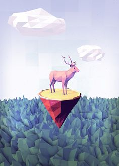 "CERF VOLANT A low poly illustration expressing the need to make a trip. It's part of a set of 3 illustrations called "" A LONG JOURNEY "".  The full project is available here"