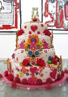 Image result for Sugar Skull Wedding Cake