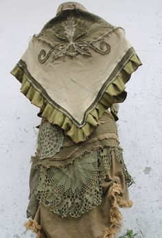RESERVED the green  woodland forest fairys  romantic ruffle fishtail skirt shawl shrug in patchwork cotton crochet  lace  and organic cotton. €160,00, via Etsy.