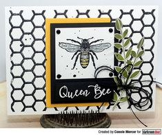 Card by Connie Mercer using Darkroom Door Buzzing Bees Stamp Set and Honeycomb Background Stamp Merry Mail, Buzz Bee, Black And White Theme, Art Journal Pages, Queen Bees, Color Card, Altered Art, Card Making, Paper Crafts