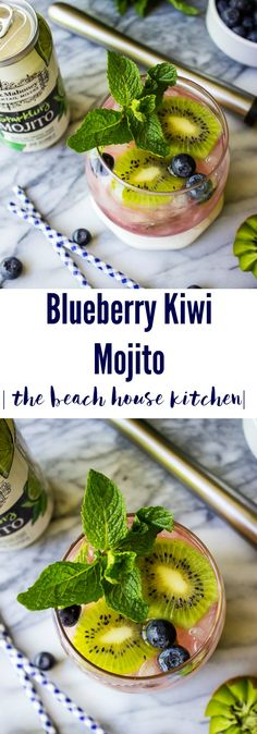 This refreshing Blueberry Kiwi Mojito is the perfect cocktail to celebrate the new summer season! Blueberry Drinks, Blueberry Margarita, Margarita Recipes, Drink Recipes, Beach House Kitchens, Fun Drinks, Alcoholic Beverages, Summer Cocktails, Kiwi