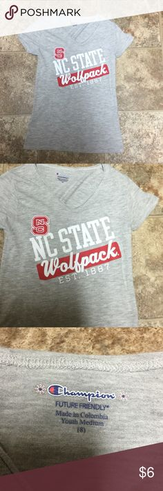 Champion NC State Wolfpack Short Sleeve Shirt Sz 8 Champion NC State Wolfpack Short Sleeve Shirt Sz 8/Medium. Worn once Champion Shirts & Tops Tees - Short Sleeve