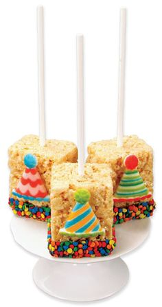 Rice crispier Treats. I don't think I like the hats on them, but I love the sprinkle idea