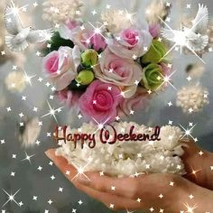 Use links below to save image. Weekend Gif, Happy Weekend Quotes, Weekend Images, Friday Weekend, Its Friday Quotes, Friday Gif, Good Morning Flowers, Good Morning Messages, Good Morning Good Night