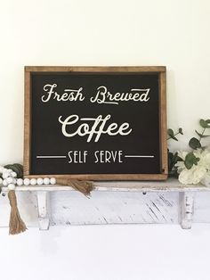 Coffee Sign, Wooden Coffee bar sign, Fresh brewed coffee, laser cut lettering, Wood Sign, Farmhouse coffee decor, Rustic Kitchen decor by CharaWorks on Etsy