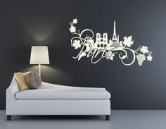 Style & Apply Paris Floral Wall Decal Wall Decal, Sticker, Mural Vinyl Art Home Decor - 3907 - Beige, x Wall Decal Sticker, Vinyl Wall Decals, Vinyl Art, Wall Stickers, Mural Art, Wall Murals, Wall Decor, Room Decor, Floral Wall